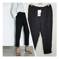 [ ZARA ] Womens Black Turned Up Hem Pants NEW | Size XL or  AU 16 or US 12
