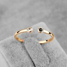 Adjustable Rose Gold Plated Toe Pinky Open Ring Black Clear CZ Crystals