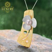 Natural Pearl Handmade Solid 925 Silver Fresh Clover Flower Pendant
