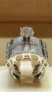 Gorgeous Women 925 Silver Plated Jewelry Wedding Rings White Sapphire Size 6