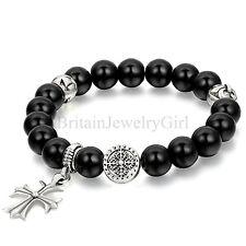 8.9 Inches Black Artificial Imitation Agate Bead Celtic Cross Mens Bracelet