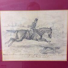 """Antique Pencil Sketch """" Rascacally Secondhorseman """" Man Riding Horse With Dog"""