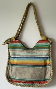 Vintage Handmade Burlap Purse with Rope Lining & Handles & Leather Compartment