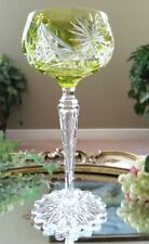 Vintage VAL ST LAMBERT Yellow Green Cut to Clear Crystal Wine Goblet, EXCELLENT!