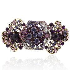Purple Rhinestone Flower Rose Barrette Gold Tone Hair Clip Party Gift