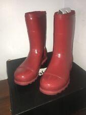 NIB Sorel Joan Rain Short Gloss - Red Dahlia - size 11 - retail $130