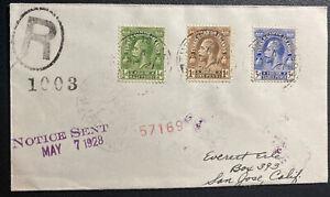 1928 Turk Island Turks & Caicos Registered cover To San Jose CA USA