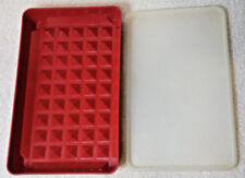 Tupperware Hot Dog Bacon Keeper Deli Meat Tray #1292 Paprika with Sheer Lid