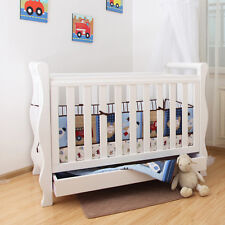 Brand NEW White New Zealand Pine 3-in-1 Classic Baby Sleigh Cot Bed with Drawers