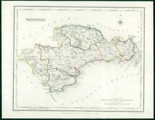 1845 IRELAND - Original Antique Map of WATERFORD by Lewis with outline colour