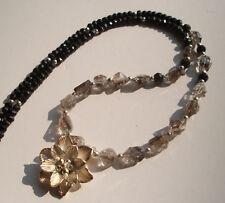 CeS Kette Herkimer Diamant Nuggets, Kakoxenit und Spinell mit Silber Blüte