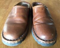 Eddie Bauer Womens Size 7.5 M Brown Leather Mules Clogs Slides comfort shoes