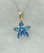 Sterling Silver Spice Blue Topaz Necklace