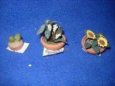Miniature:  trio of plants - sunflower, cactus, calla lily - 1:12 scale