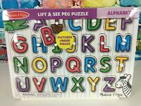 MELISSA & DOUG Lift & See Peg Wood Puzzle Alphabet Pictures Under Pieces Learn