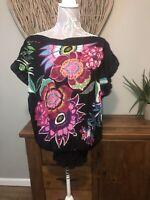 Desigual Ladies Size Xs Oversized Black Floral  Top 6 8 10