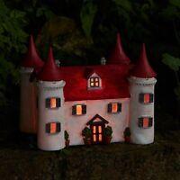 Large LED Fairy Garden Magical Ornament Mushrooms Solar House Castle Elf Pixie