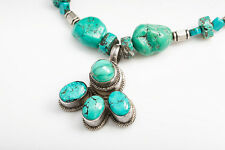 MARK TRACY STERLING SILVER TURQUOISE BEADS & NUGGETS NECKLACE