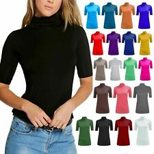 Girls Turtle Polo Neck Top Womens Short Sleeve High Neck T-Shirt Plus Sizes 8-26