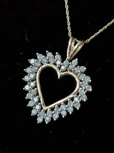 Vintage 10k Gold Sweetheart Heart Clear Stone Pendant Necklace ~ 3.6 grams