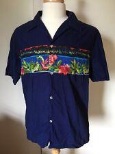 Vintage Kai Nani Hawaiian Shirt Size XL Navy Blue 100% Cotton Print