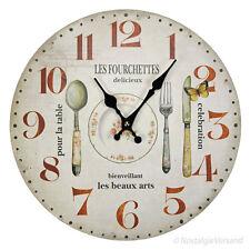 Küchenuhr Wanduhr Landhausstil Uhr Quartzuhr Küche Holz Stil Nostalgie Landhaus