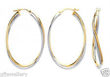 9CT HALLMARKED YELLOW & WHITE GOLD POLISHED OVAL TWIST 42MM HOOP EARRINGS