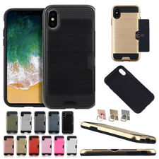 Hybird Card Pocket Shockproof Armor Case Cover For Apple iPhone X 7 8 6 Plus Max