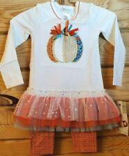 Bonnie Jean Girls 4T Thanksgiving Outfit 2 Pc  Leggings Pumpkin Halloween Autumn