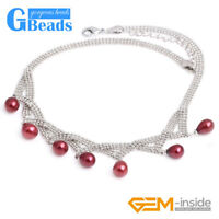 """7-8x9-10mm Freshwater Pearl Gold Plated Necklace Fashion Jewelry 18"""" with Box"""