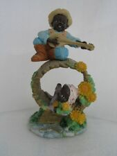 BLACK CHILDREN ON BARREL HAND PAINTED Figurine