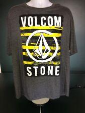 Mens Volcom Stone Graphic T-Shirt Tee Short Sleeve Gray Yellow White Size 2XL