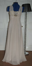 NEW LOOK PROM Sz 6-8 Gold Sequin Bust Nude Chiffon Skirt Satin Lined Maxi Dress