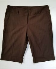 Womens Dress Shorts Size 9 Tracy Evans Limited Brown Pinstripe Stretch Bermuda
