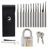 17pcs Training Practice Lock Pick Padlock Picking Unlocking Lock Pick Tools FG#1