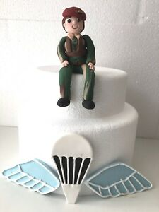 Edible ARMY PARACHUTE GUY/WOMAN Cake Topper Decoration