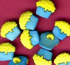 BLUE CASE and YELLOW TOPPING Cupcake Fairy Cake Muffin Shabby Chic Craft Buttons