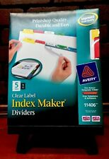 New Avery 11406  Index Maker Clear Label Divider  5  Tabs Stock 274