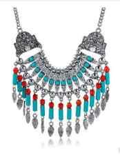 Collier Gioielli Indiani Stile Antico Perle Tondo Turchese Rosso Metallo Color
