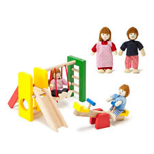 Wooden Doll House family of 4 with Outdoor Play Set - FREE POSTAGE Pretend Play