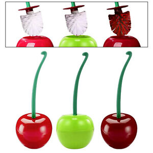 Toilet Brush w/ Holder Cherry Shape with Soft Bristle,Bathroom Toilet Bowl Set