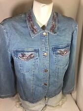 Nancy Balen Women Blue Jean Jacket Button Down Size M Long Sleeve Bin76#3