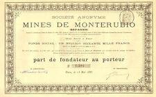 SA des Mines de Monterubio (Espagne), parte de fundador, Paris, 1885