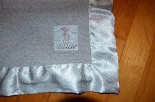 Little Giraffe Gray/Silver Bella Security Blanket/Lovey Dot/Circle Satin Trim