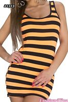 Sexy Mini Dress Ladies Summer Casual Striped Short Dress One Size 6,8,10 UK New