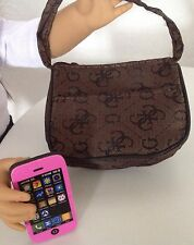 "Purse & Phone for American Girl Doll 18"" Accessories SET Brown"