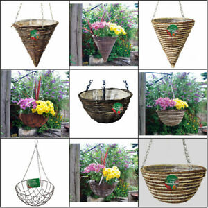 """12"""" 14"""" and 16"""" Green Powder Coated Wire Round Bottom Hanging Baskets"""