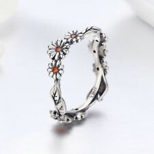 925 Sterling Silver Ring Daisy Flower Women Wedding Engagement Band Size 7