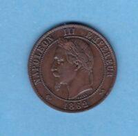 (BR.204) 10 CENTIMES NAPOLÉON III LAUREE 1862 K BORDEAUX (SUP-)