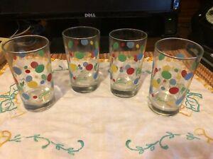 FIESTA glassware 7 oz JUICE glass DOTS shamrock scarlet daffodil laps, set of 4